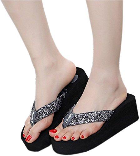 Bettyhome Women Lady Girls Fashion Shiny Thongs Comfortable Casual Wedges Sandals Beach Flip Flops Slippers Black I1YjK5wQx