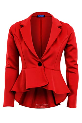 Giacca Red Fit Slim nbsp; Maniche Da Friendz Lunghe pantalone A Donna Trendz Vento Peplum qWO4wAE