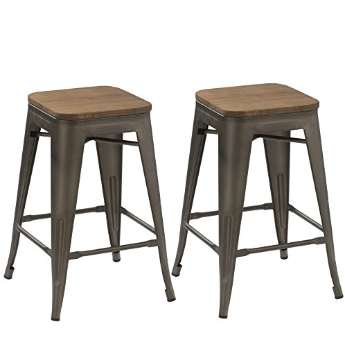 BTEXPERT 24-inch Industrial Antique Copper Distressed Metal Stackable Tabouret Dining Modern Steel Bar stools Handmade Wood top seat (Set of Two Bar stools)