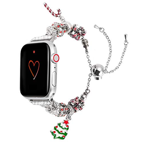 Wearlizer Compatible with Apple Watch Band 38mm 40mm Womens Christmas Elements iWatch Handmade Wristband Exclusive Bracelet, Christmas-Tree-Crutch-Gifts Box Replacement Metal Strap Series 4 3 2 1 ()