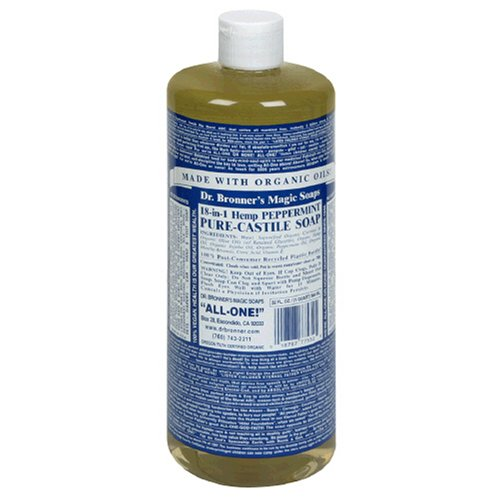 Dr. Bronner's Magic Soaps Pure-Castile Soap, 18-in-1 Hemp Peppermint, 32-Ounce Bottles (Pack of 2) -