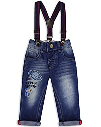 The Essential One - Little Boys\' Baby Kids\' Jeans With Braces Maxie Monkey 6-9 Months Blue