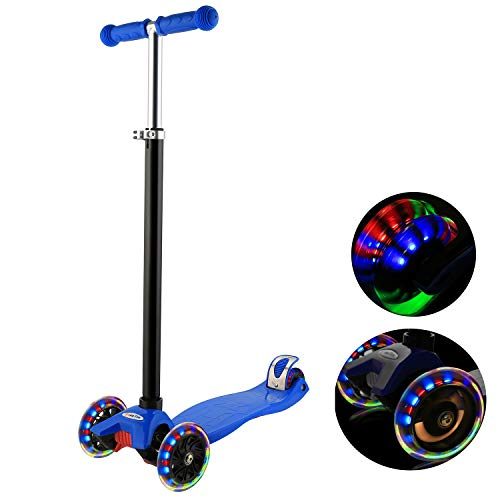 (WeSkate Kick Scooter for Kids 3 Wheels, Adjustable Height Kids Scooter for Boys and Girls 3-12, LED Light Flashing PU Wheels)
