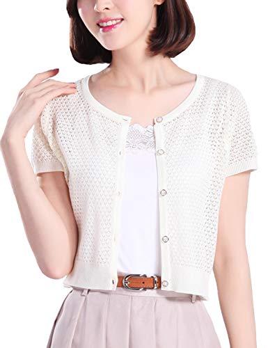 Thgonwid Womens Short Sleeve Crochet Shrug Button Down Bolero Cropped Cardigan White
