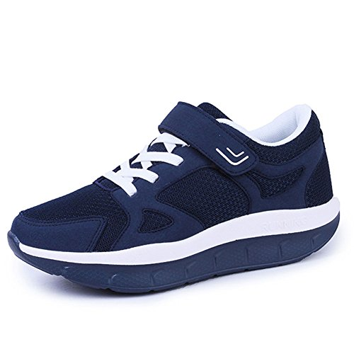 Scurtain Womens Velcro Casual Walking Shoes Lace-up Non-Slip Elderly Middle-Aged Sneakers Large Size Dark Blue sagSWqNOCL