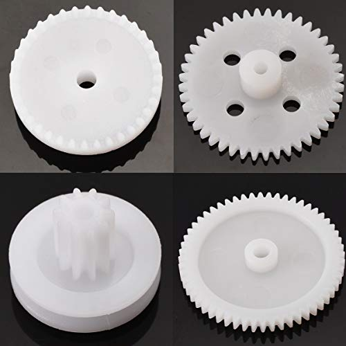 (Fevas New 81pcs Plastic Gear Wheel Assorted Kit for Gear Motor Gearbox Toy Car Boat Shaft Model Crafts Making Mini Gear Rack)