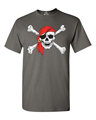 Shop4Ever Jolly Roger Skull & Crossbones T-Shirt Pirate Flag Shirts Medium Charcoal 11224