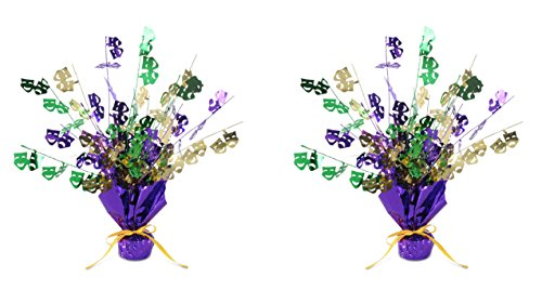 Beistle S50805AZ2 Mardi Gras Gleam 'N Burst Centerpieces 2 Piece, Green/Gold/Purple]()