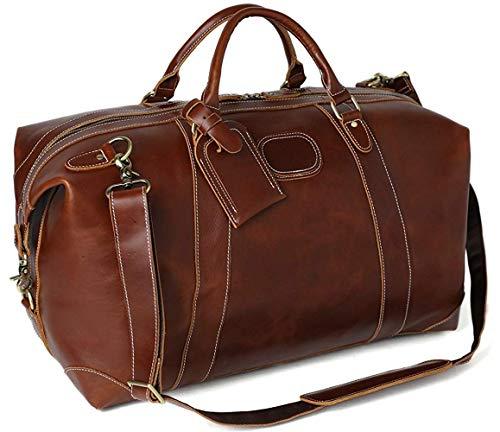 ROCKCOW Reddish Brown Top Grain Leather Travel Duffle Bag Men Shoulder Bag Holdall Bag