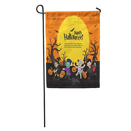 Semtomn Garden Flag Children Dressed in Halloween Fancy Dress to Go Trick Treating Home Yard House Decor Barnner Outdoor Stand 12x18 Inches Flag