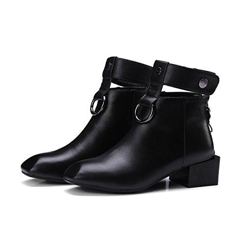 CXQ-Boots qin&X Women's Block Square Head Short Ankle Boots Shoes Black CmeaFejr