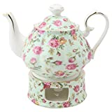 Grace Teaware Porcelain 5-Cup Rose Chintz Teapot With Warmer 2-Piece Set (Blue Cottage)