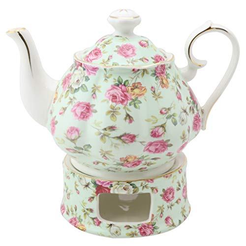 Grace Teapot Set - Grace Teaware Porcelain 5-Cup Rose Chintz Teapot With Warmer 2-Piece Set (Blue Cottage)