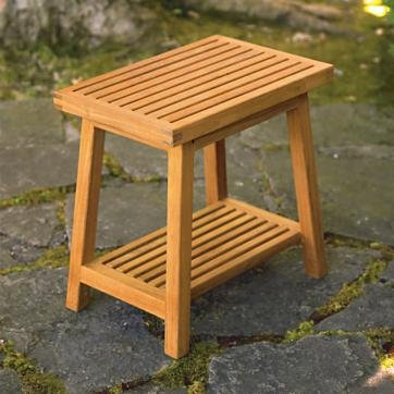 Amazon.com: New Grade A Teak Wood Bath Stool Or Side Table Or Shower ...