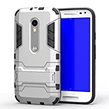 Moto G 3rd Gen Case,Gift_Source [Dual Layer Design] TPU+Hard case Hybrid Combo Armor Defender Rugged Protective Case With Built-in Kickstand For Motorola Moto G3 (3rd Generation) [Silver]