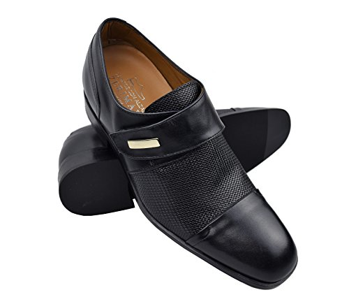 Zerimar Schuhe für Männer Erhöhen Sie 7 cm | Herrenschuhe mit Erhöhungen | Schuhe die Ihre Höhe Erhöhen Dunkel Schwarz