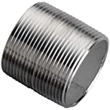"""Stainless Steel 304/304L Pipe Fitting, Close Nipple, Schedule 40 Welded, 1/4"""" NPT Male, 7/8"""" Length"""