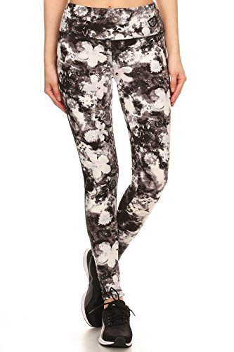 50974dd832831 Women's Mid Rise Black and White Abstract and Floral Print Yoga Legging  Pants with Non See. Pink Mint