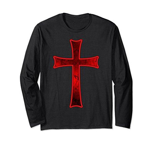 Crusader Long Sleeve - Unisex Crusader Knights Templar Distressed Cross T-Shirt XL: Black
