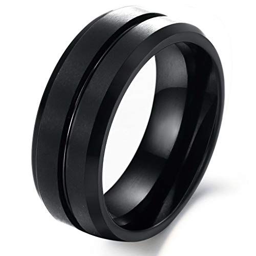 How To Clean Tungsten Carbide Rings - JESMING Fashion Ring Tungsten Carbide Rings Wedding Ring Black Tungsten Carbide Ring Women Rings Mens Rings (Black,Size 8)