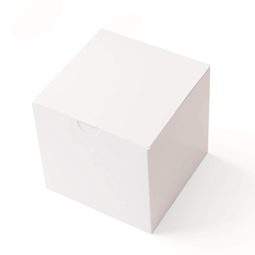MESHA Gift Boxes 3 x 3 x 3 inches, White Paper White Boxes with Lids for Gifts, Crafting, Cupcake Packaging Boxes (50) MS-01