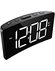 Alarm Clocks, PICTEK Digital Alarm Clock with 5-inch Dimmable LED Curved Screen for Bedroom Livingroom Office [with USB Cable, No Aadapter]