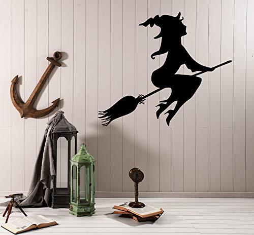 Wall Decal Witch Flying On Broom Silhouette Witchcraft Halloween Vinyl Sticker (ed1483) ()