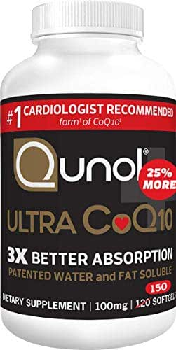Qunol Ultra CoQ10 100mg, 3x Better Absorption, Patented Water and Fat Soluble Natural Supplement Form of Coenzyme Q10, Antioxidant for Heart Health, 150 Count Softgels