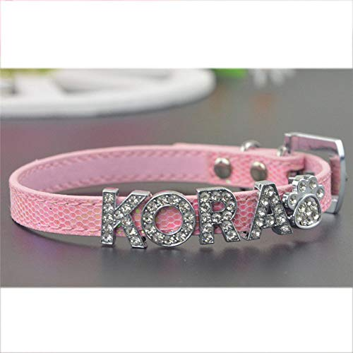 PEHTEN Pet Personalized Collar 10MM Bling Leather Free Name Customized Cat Dog Puppy Pet Name Collar Pink Collar XXS