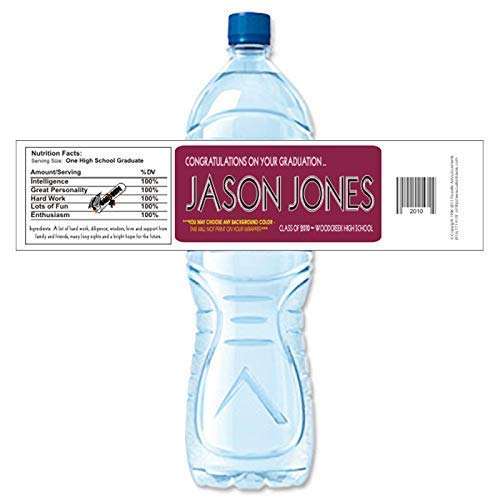 Graduation Water Bottle Labels, School Colors, Waterproof (Set of 24)(Y407) -