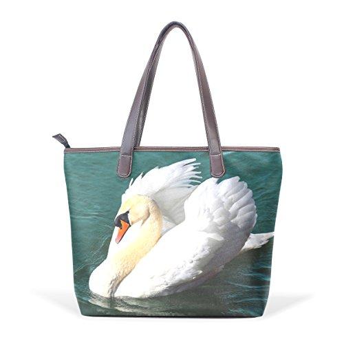 COOSUN Para mujer cisne en el agua Bird bolso de cuero del hombro de la manija bolsa de asas grande L (33x45x13) cm muticolour