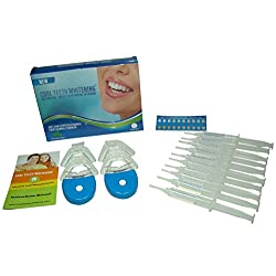At Home Professional Teeth Whitening Kit 44% Carbamide Peroxide with 10 Large Syringes of Made in USA Gel 10 Pcs. 5cc Syringes, 4 Pcs. Thermoform Trays + 2 Pcs. Bonus White LED Light + Free Shade Guides + Instructions