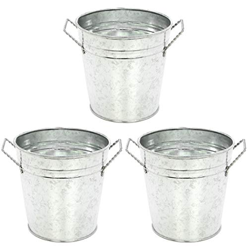 Small Tin Buckets (Hosley's 3 Pack of Galvanized Planters - 5