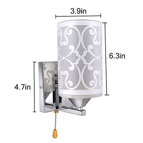 Elitlife Elegant style Modern Wall Light Lamp Pattern Indoor energy saving for Bedside Lamp/Stair Lamp/Wall Sconce/Living Room witn Pull line switch & 3W warm light bulb (Cool White) by Elitlife (Image #5)