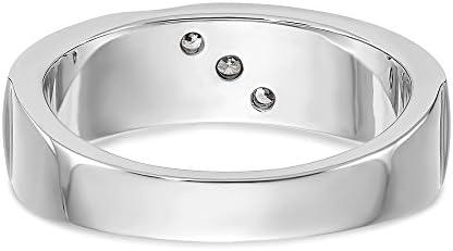 Men's 14k White Gold Diamond Wedding Band Ring, Size 10