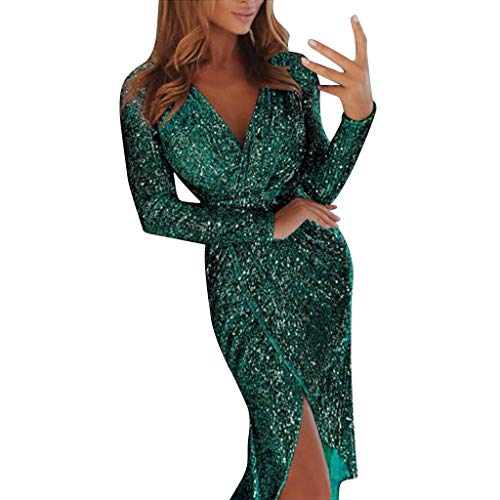 Toimothcn Women Off Shoulder Ruched Metallic Knit High Slit Evening Party Cocktail Dress ()