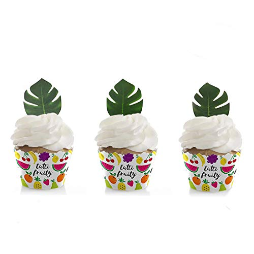 GEORLD 24pcs Edible Palm Leaves Cupcake toppers Tropical Party Cake Summer Decoration -