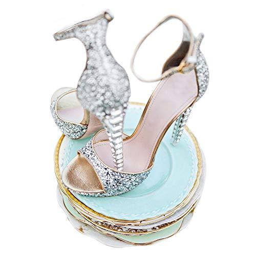 Women's High Heel Platform Sandals, Ankle Strap Rhinestone Fish Mouth Open Toe Sandals, Banquet Dinner Wedding Silver Size 8.5