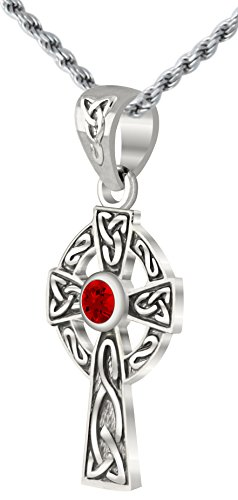 Small 0.925 Sterling Silver Irish Celtic Knot Cross Synthetic Ruby Pendant Necklace