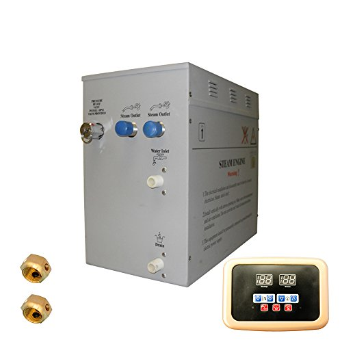 Superior 12kW Self-Draining Steam Bath Generator with Black Waterproof Programmable Controls and Gold Steam Outlet