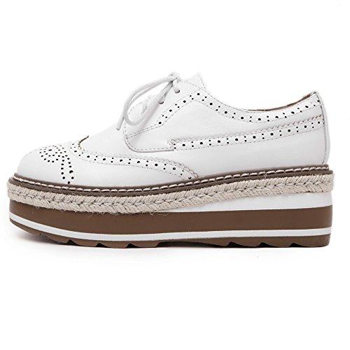 VogueZone009 Damen Mittler Absatz Weiches Material Rein Schnüren Rund Zehe Pumps Schuhe Weiß