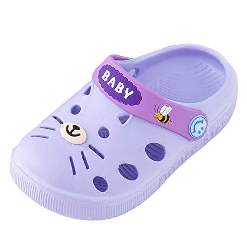 Tantisy ♣↭♣ Toddler Little Kids Clogs Slippers Cartoon Cat Sandals Girls Boys Non-Slip Lightweight Garden Summer Flip Shoes Purple]()