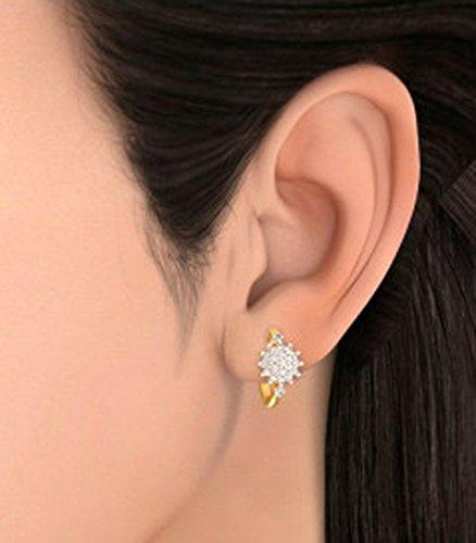 14K Or jaune 1.08carat au total White-diamond (IJ | SI) Boucles d'oreilles créoles