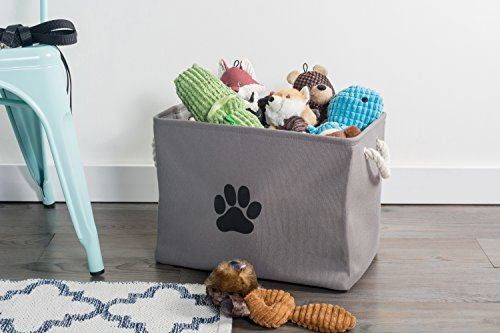 """DII Bone Dry Medium Rectangle Pet Toy and Accessory Storage Bin, 16x10x12"""", Collapsible Organizer Storage Basket for Home Décor, Pet Toy, Blankets, Leashes and Food-Gray Paw Print"""