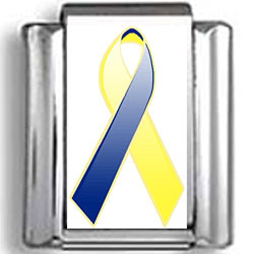Blue and Yellow Down's Syndrome Awareness Ribbon Photo Italian Charm