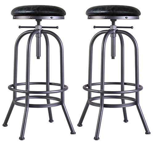 LOKKHAN Set of 2 Industrial Bar Stool-Swivel PU Leather Seat-Adjustable Metal Bar Stool-Kitchen Counter-Pub Height-29-35 Inch Extra Tall Bar Stool,Fully Welded (Swivel Backless Stools Bar)