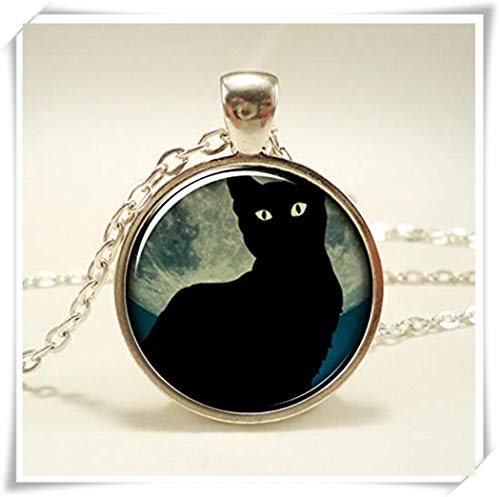 Pink rose Black Cat Necklace with Full Moon, Midnight Blue , Dome Glass Jewelry, Pure Hand-Made ()