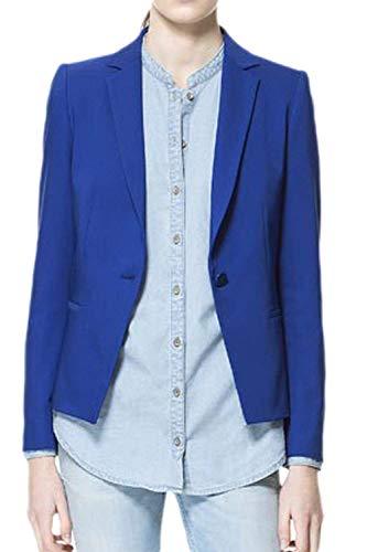 Blazer Casual Business Da Moda Giovane Manica Colore Giacca Button Lunga Cappotto Outerwear Tailleur Donna Puro Autunno Bavero Blu qpfdqC