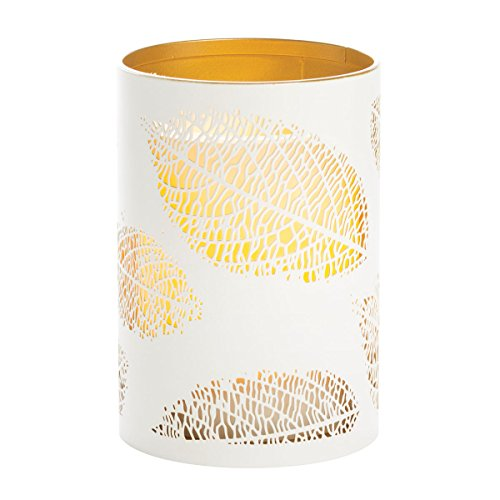 Sterno Home CAT12451WH Laser Etched Leaf Design Metal Luminary, 3.5 5-Inch, White/Gold (Gold White Etched Design)