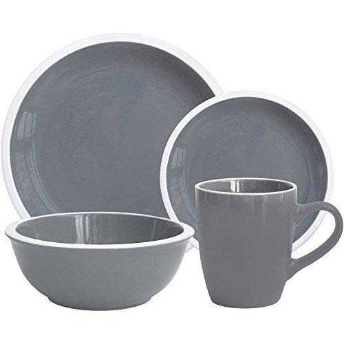 Mainstays Hadleigh 16-Piece Dinnerware Set, Grey Flannel